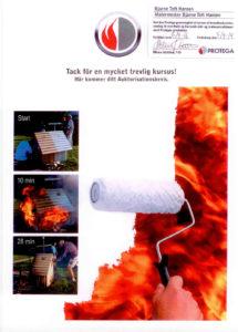 Certifikat i brug af brandhæmmende maling udstedt til Malermester Bjarne Toft Hansen